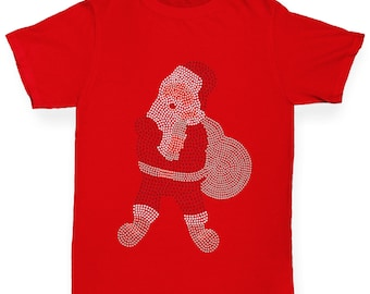 Boy's Santa Claus Rhinestone Diamante T-Shirt