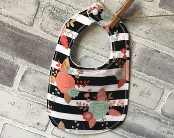 baby bib cotton floral pattern terry cloth backing