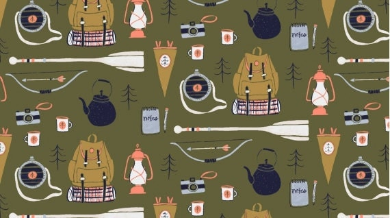 Camping Supplies || Trail Mix by Rae Ritchie for Dear Stella Fabrics || Half or One Yard || 100% Cotton Woven