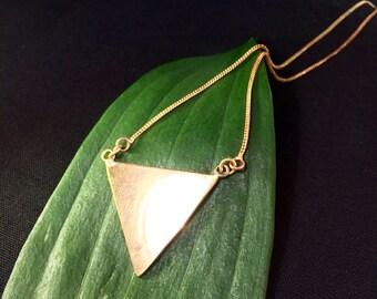 Triangle Polished Brass Necklace, Geometric Triangle Brass Necklace, Geometry Necklace, Triangle Form Necklace,  Geometric Necklace