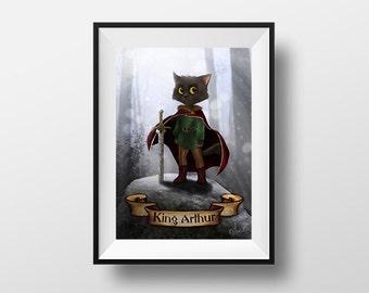 King Arthur poster - Digital Illustration printed on A4 photo paper