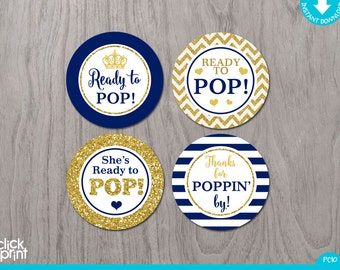 Prince Baby Shower Royal Blue and Gold Glitter Print Yourself Cupcake Toppers or Stickers Ready to Pop