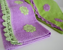 Green & Lavender Handmade Towel , Face Towel , Kitchen Towel, Bathroom decoration, present, hand crochet