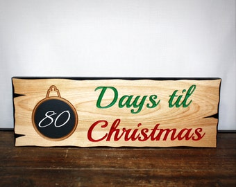 Days Til Christmas Countdown Sign, Rustic Christmas Home Decor, Wall Decor, Christmas Ornaments, Chalkboard Paint