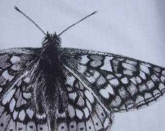 Marsh fritillary butterfly, Euphydryas aurinia.  Ink artwork on kids t-shirt