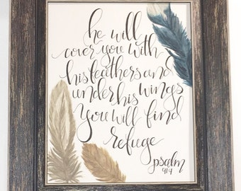 Psalm 91:4 Hand lettered Bible Verse