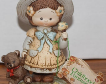 Enesco Figurine - 1984 Childhood Fantasies - Cute Girl Figurine with Ice Cream and Teddy Bear - Adorable! ~ 5and10VintageFinds