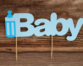 baby shower party, 4-piece Baby coutout, baby shower decoration,  Cupcake topper, cake topper, center piece