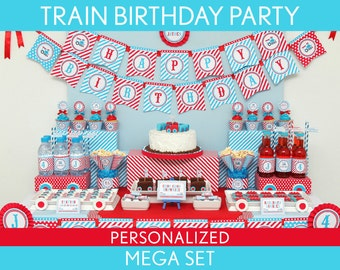 Train Birthday Party Package Collection Set Mega Personalized Printable // Vintage Train - B30Pz2