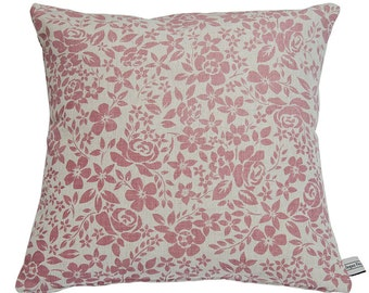 Hand Printed Pink Floral Pillow