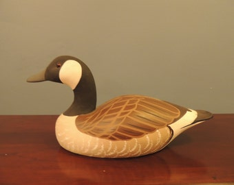 Vintage hand painted duck decoy signed by artist, Raymond E Hornick Rustic/lake house/ Cabin