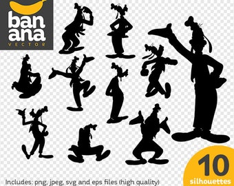 SALE Goofy Silhouettes png jpg svg eps files high resolution BV-FA-0021