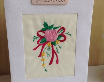 Machine embroidered Birthday card, thank you or a get well card with pretty bouquet