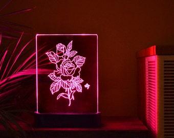 Flower Rose Acrylic 3d LED Table Lamp, Bedroom Night Light, Bedside Night  Lamp,