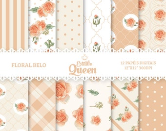 Digital Paper Shabby Chic Floral scrapbook background Flower