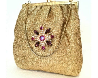 Gold Lamé bag with brooch