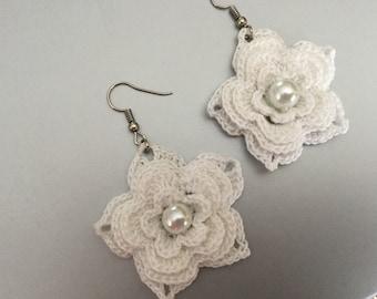 """Crochet earrings """"Adele"""", Crochet jewellery, Bridal earrings, Bridal wear"""