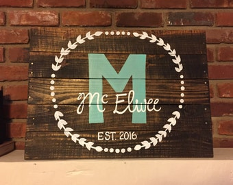 Family Name Wood Sign, Family Established Sign, Family Established Wood Sign, Rustic Home Decor, Custom Name Sign, Hanging Family Sign