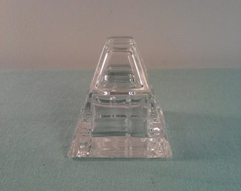 Pyramid Shaped Vintage Glass Inkwell for Calligraphy