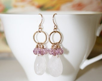 Pink Teardrop Quartz Earrings with Purple Crystals