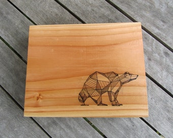 Geometric Bear Print on Wood