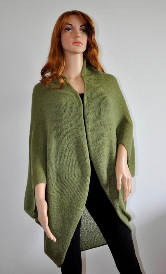 Batwing Cardigan Knit loose cardigan wrap coat for women Handmade olive green Boho Sweater Cocoon coat jacket knit loose cardigan, Green