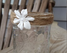 Rustic half pint jar for centerpiece or aisle decoration