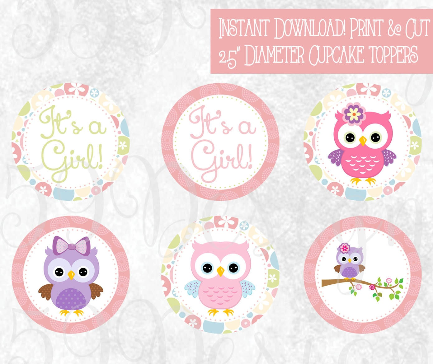 Owl Cupcakes For Baby Shower: Printable Owl Cupcake Toppers Download Print It's A Girl