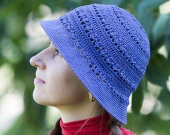 Crochet Dark Blue Hat, Women Summer Hat, Crochet Women Hat, Lady Summer Hat, Cotton Women Hat
