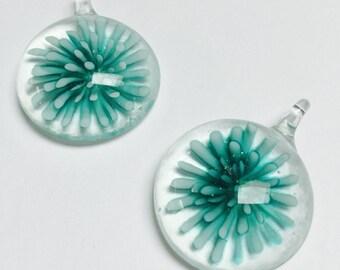 Glass Flower Pendant - 2 Pieces - #581