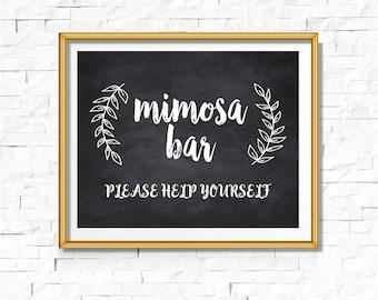 DIY PRINTABLE Rustic Chalkboard Mimosa Bar Sign | Instant Download Wedding Ceremony Reception | Rustic Calligraphy Print | WChalk01