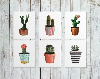 Instant Download Watercolor Succulent Cactus Printable Set of 6 | Kitchen Decor Botanical Herb Prints | Botanical Watercolor Set of 6 | 8x10