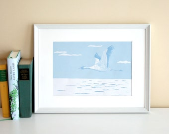 Linocut print Crane, original linoprint, limited edition, handmade printmaking, animal illustration, Reductionprint, nature, wall decor, art