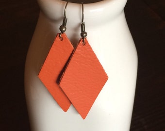 Leather Earrings -- Orange
