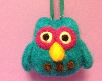 Needle felted turquoise owl ornament