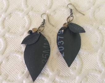 Industrial Leaf Earrings - gold and black beads
