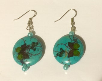 Stainless Steel Butterfly Turquoise Stone Earrings Hypoallergenic French Hooks for Sensitive Ears