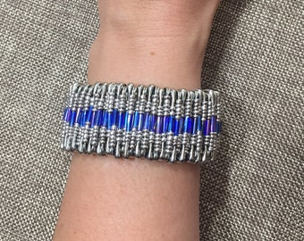 Blue and silver safety pin bracelet, stretchy