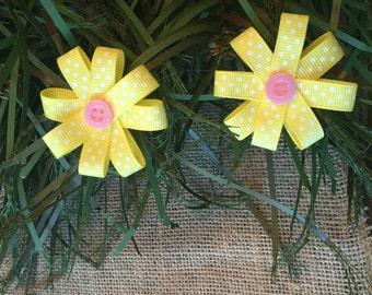 Sunshine Yellow & Pink Ribbon Bows
