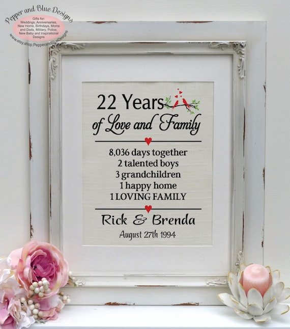 22nd Wedding Anniversary Gift Ideas: 22nd Wedding Anniversary 22 Years Married By