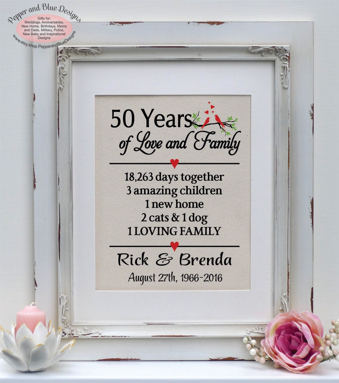 50th Anniversary Gift 50 Years 50 Year Anniversary