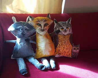 3 forest animal sofa cushions