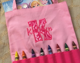 Girls Monogrammed Crayon Bag