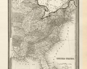 Vintage United States Map - Circa 1849