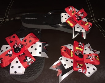 Mickey & Minnie Mouse Inspired  Old Navy Flip Flops Plus Clip Hair