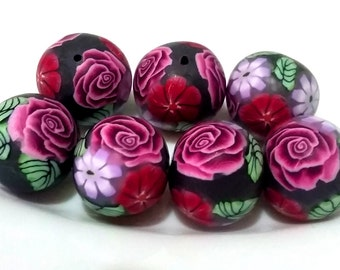 7 polymer clay beads, pearls, floral, rose with leaf, Purple Rose, handmade beads