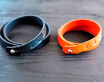 Personalized Double Wrap Leather Bracelet