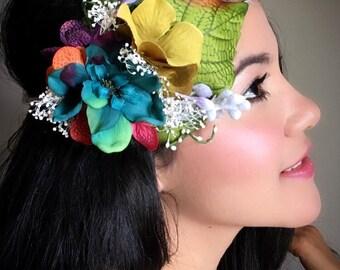 Silk Delphinium and Hydrangeas Hair Tiara