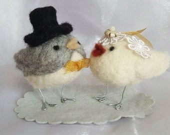 Needle Felted Birds Wedding Cake Topper/Gift