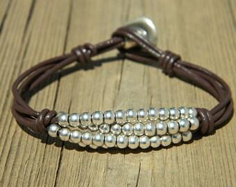 Women leather bracelet,leather bracelet,leather bracelet for women,beaded bracelet, silver plated,PC012